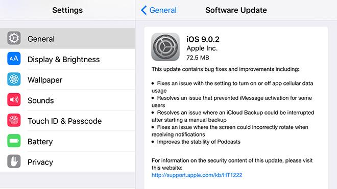 iOS 9.0.2 Güncellemesi Yayınlandı.