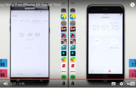 Dezavantajlı iPhone Hız Testinde Galaxy Note 7'i Yener Ama Dahası Var