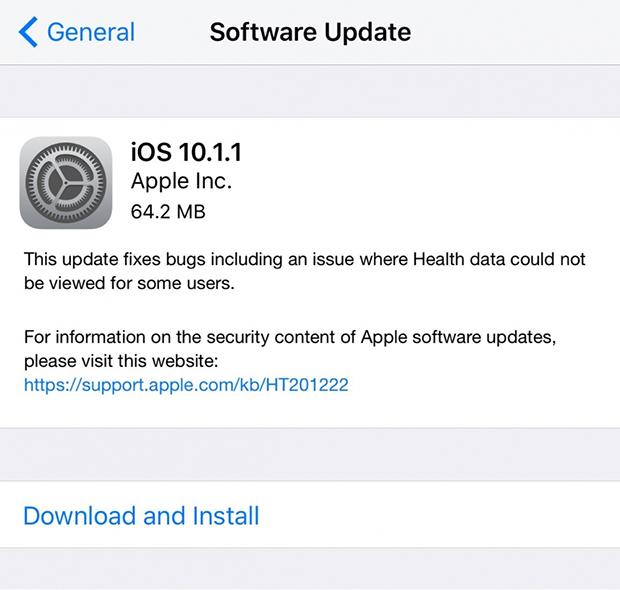 ios 10.1.1 güncelleme