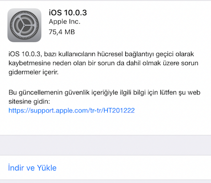 ios 10 güncelleme Apple iOS 10.0.3