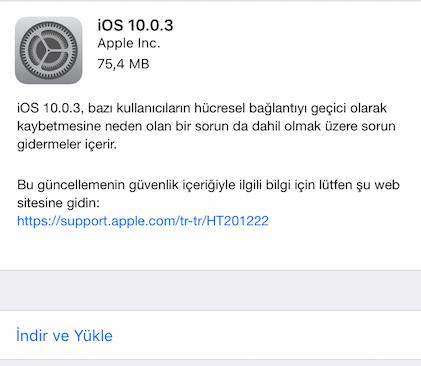 ios 10 güncelleme Apple iOS 10.0.3