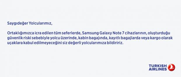 THY Note 7 duyuru Türk Hava Yolları Note 7