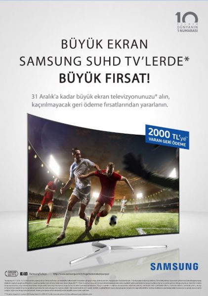 Samsung TV Geri Ödeme Kampanyası, SUHD TV'lerde 2000 TL indirim !