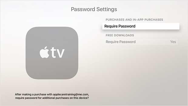 apple tv parola ayarları