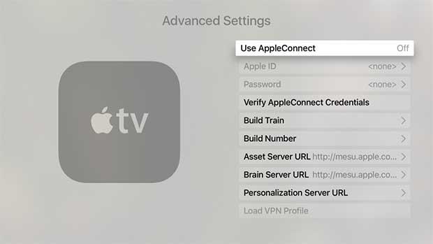 apple tv teknik gizli ayarlar