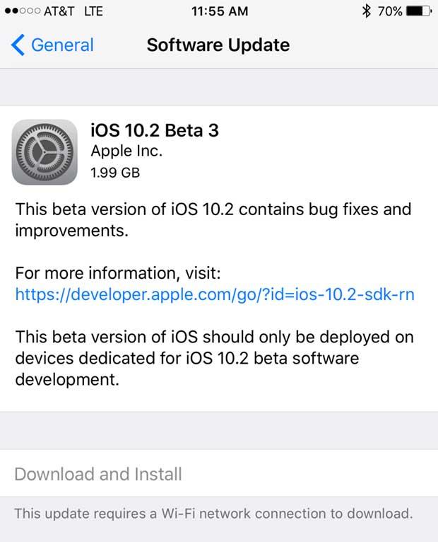 ios 10.2. beta 3 güncelleme