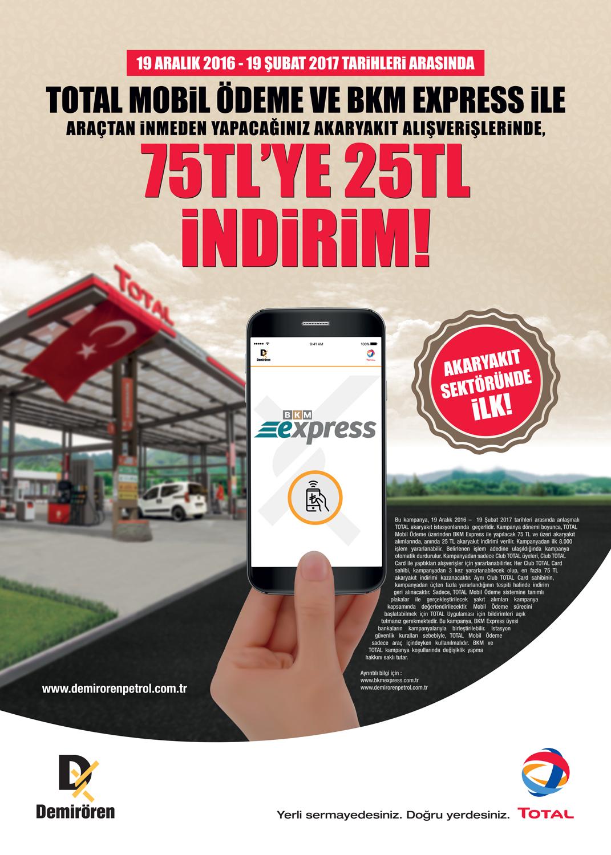 TOTAL Mobil Ödeme Kampanyası 75TL'ye Anında 25TL İNDİRİM! 31 Mart'a Uzatıldı!