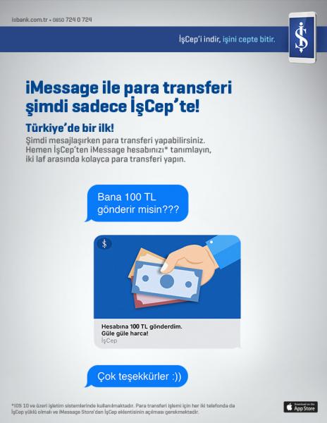 iMessage ile Para Transferi Mümkün! Bu Kolaylık İşCep'te