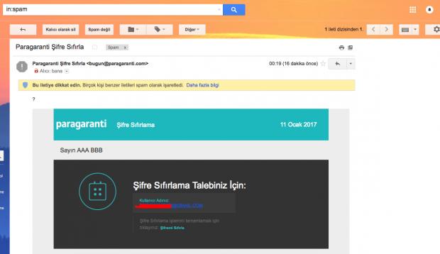 Garanti Bankası Paragaranti Müşterilerine Şifre Sıfırlama Postası Gönderdi!