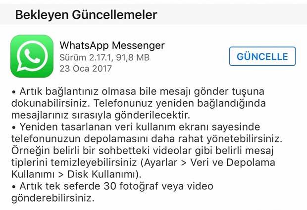 whatsapp ios güncellendi
