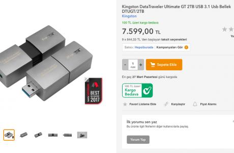 2 Terabaytlık Flash Disk Satışa Çıktı, Fiyatı Dudak Uçuklattı, 7.599 TL!