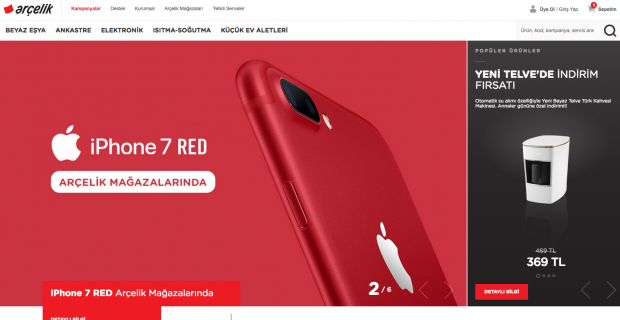 Arçelik Web Sitesi Yenilendi, iPhone 7 Red Yeni Arçelik Sitesinde