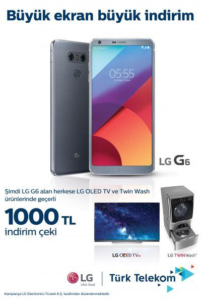 LG G6 Alana 1000 TL İNDİRİM ÇEKİ