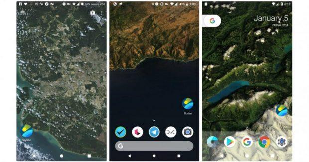 Android Canlı Duvar Kağıdı Skyline, Bulunduğunuz Yeri Kuş Bakışı Gösteriyor
