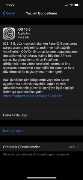 iOS 13.5 Yüz Maskesi
